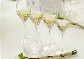 Le verre idéal pour déguster le Champagne est le verre tulipe, suffisamment haut pour laisser les bulles évoluer et les arômes s'exprimer. La coupe est à proscrire. Rincez les verres à l'eau chaude sans produit et laissez-les s'égoutter seuls.