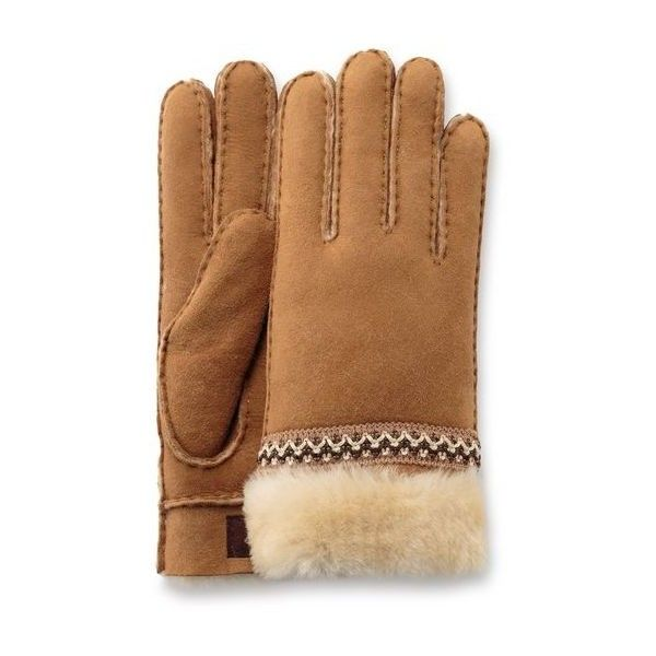 Ugg Classic Tasman Glove ($100) ❤ liked on Polyvore featuring accessories, gloves, chestnut, sheepskin gloves, ugg gloves and ugg