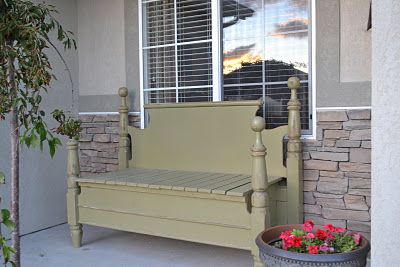 Bedpost bench: Beds Posts, My Husband, Beds Benches, Simple Simon, Husband Jumping, Headboards Benches, Porches Benches, Front Porches, Storage Benches