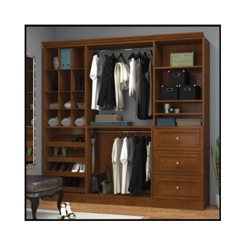 Wood-Wardrobe-Closet-Organizer-System-Armoire-Shoe-Storage-Clothes-Bedroom-Shelf