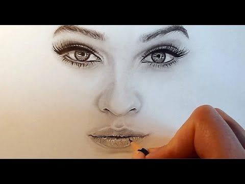 Tutorial | How to shade and draw realistic eyes, nose and lips with graphite pencils - YouTube