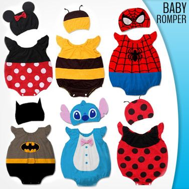 Adorable Baby Romper with Matching Beanie A great way to make your baby look even cuter - choose from eight beloved character romper and beanie set including Mickey, Spiderman and Lady bug! Only $19