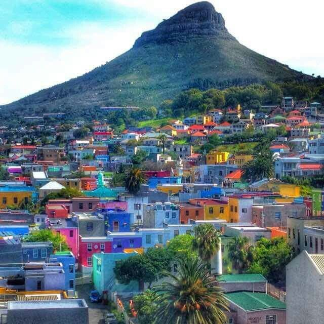Bo-Kaap, Cape Town with Lionshead in the background. Our beautiful country to be inherited by our children if we don't mess things up!