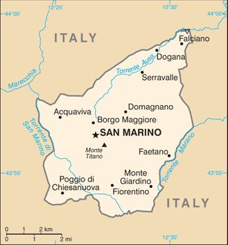 Map of San Marino.  San Marino's capital is the City of San Marino, its largest city Dogana. San Marino has the smallest population of all the members of the Council of Europe.