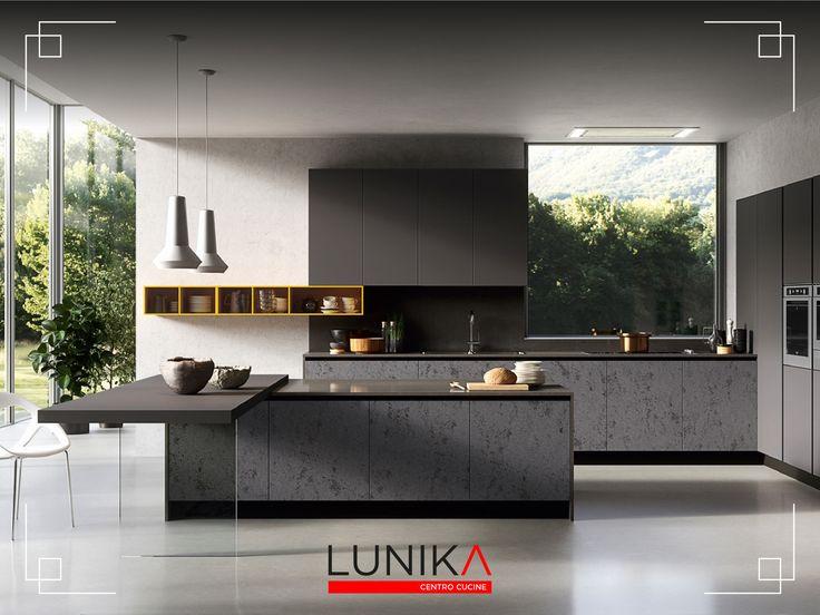 Cucina modello Glass con frontali effetto kerlite. Realizzata con frontali vetro effetto kerlite grey e vulcano opaco.