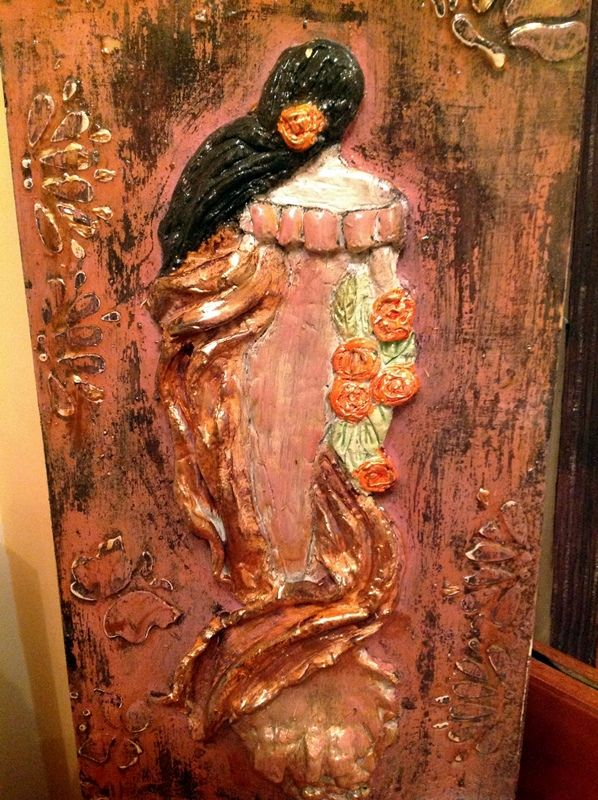 clay figoure inspired by Maria Lalaouni on wood