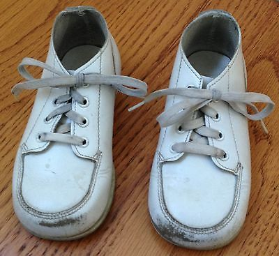 Vintage Baby Shoes White Leather Toddler Trainers High Top
