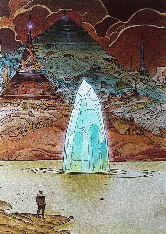 Moebius (Jean Giraud), Venise / olokosmon / eau / cristal / pilier / ville / dôme / trait / couleur / composition