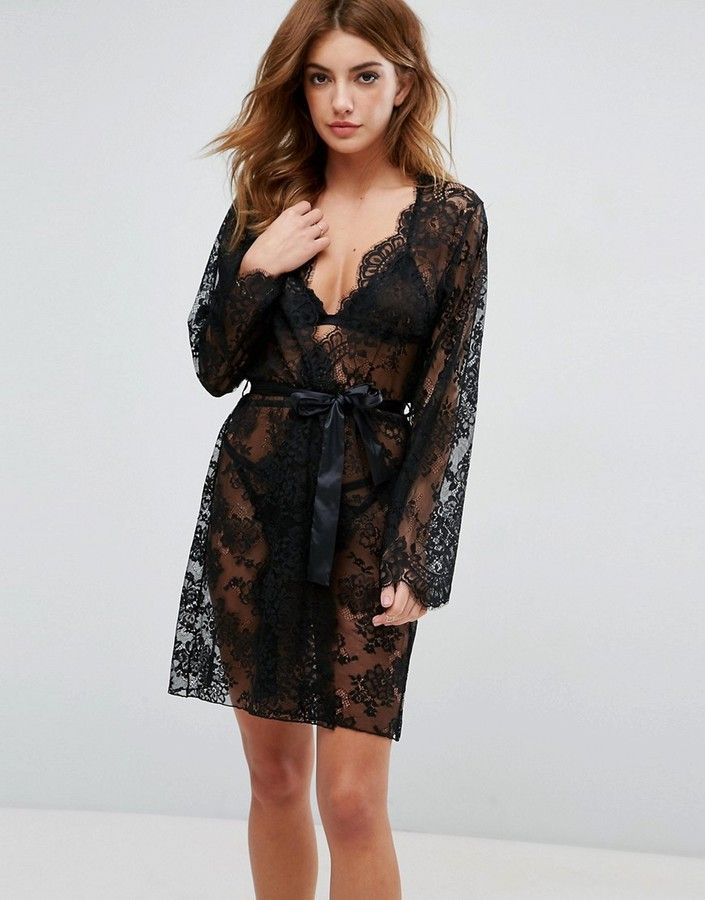 ASOS Lace Robe with Scallop Edge