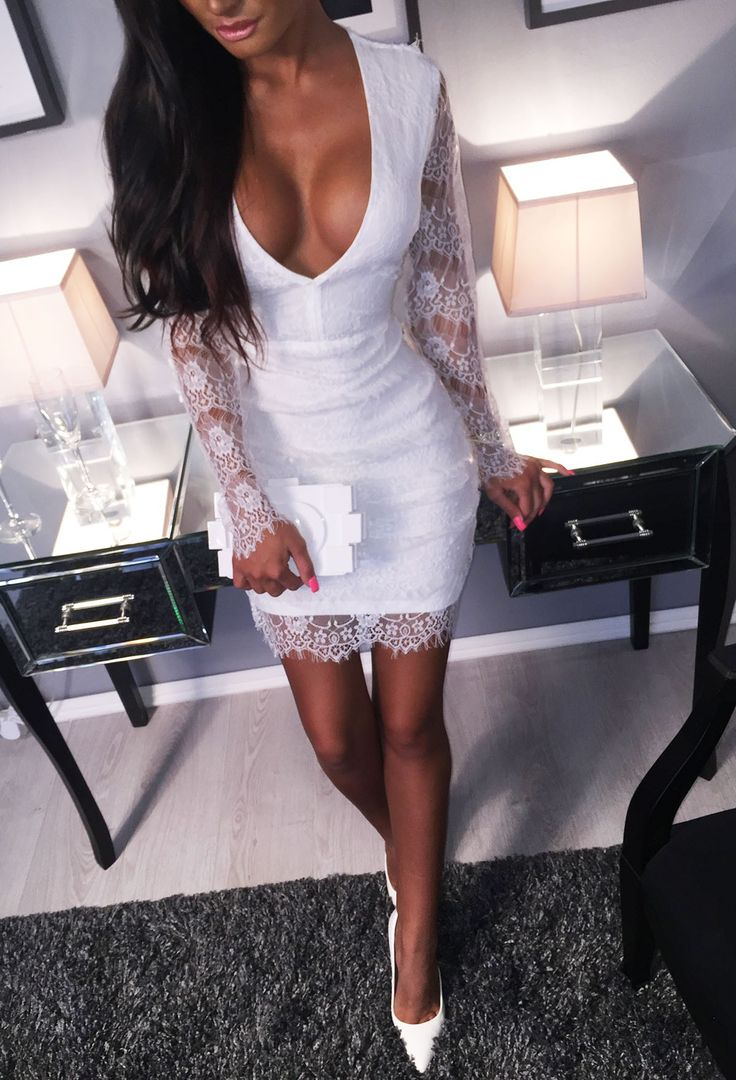 Sharmina White Lace Mini Dress   Pink Boutique