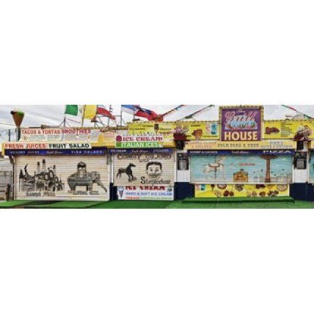 Old Store Front along Riegelmann Boardwalk Long Island Coney Island New York City New York State USA Canvas Art - Panoramic Images (36 x 12)
