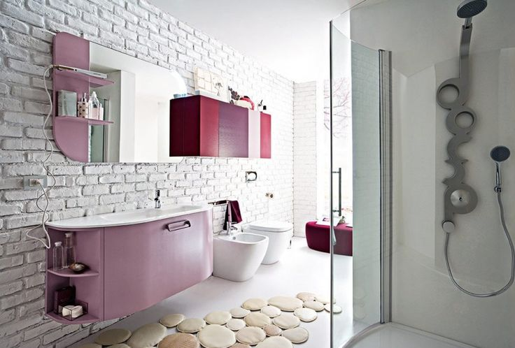 bathroom, Modern Bathroom Design Ideas With Washbasin Cabinet Design For White Bathroom Ideas With White Brick Wall Design With Small Shower Room Design Ideas With Bathroom Wall Units Design Ideas: Creative and Stunning Ideas in Designing Modern Bathroom
