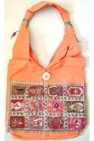 #Embroidered And #Patched #Peach #Cotton #Bag  Sleek yet sophisticated, in terms of presentation, function and fashion!  This embroidered and patched peach coloured  bag is irresistible, better hurry before someone else grabs it.