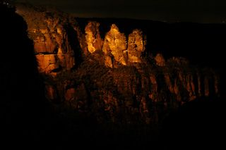 Click here for information about this The Three Sisters at Night photo. You can buy handmade greeting cards with this photo for $4.50 delivered. www.theshortcollection.com.au/Blue-Mountains