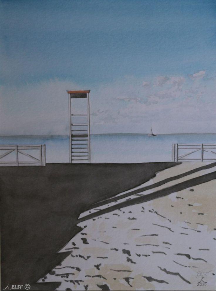 La Spiaggia • Elsì    Tecnica: Acquerello  Dimensioni: 30 x 40 cm  in Vendita