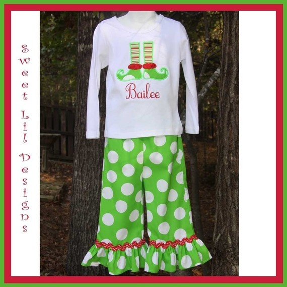 Elf leg applique and ruffle pants for Christmas (I know.. how many pant sets can we actually have?)
