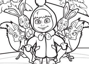masha and mishka and the animals | Coloriages Masha et Michka > Coloriage Masha et Michka