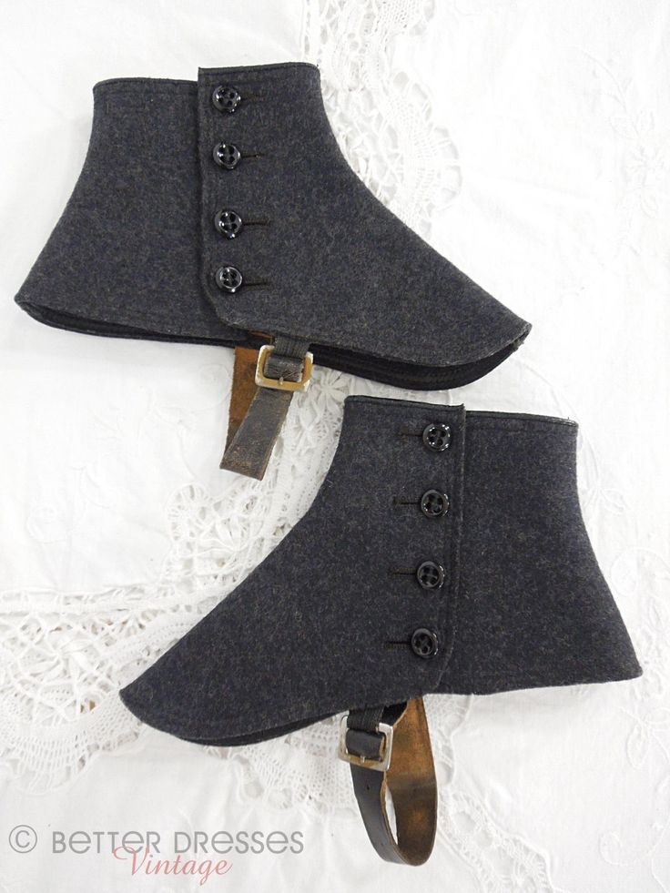 Antique Wool Felt Spats Dark Gray Gaiters Glass Buttons by Better Dresses Vintage