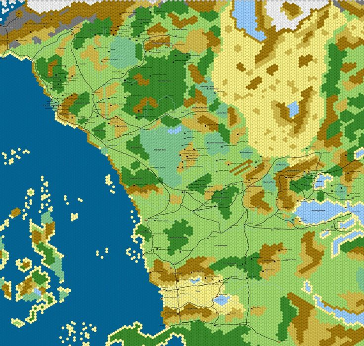 Hex map of The Sword Coast, Forgotten Realms. 1hex = 10 miles