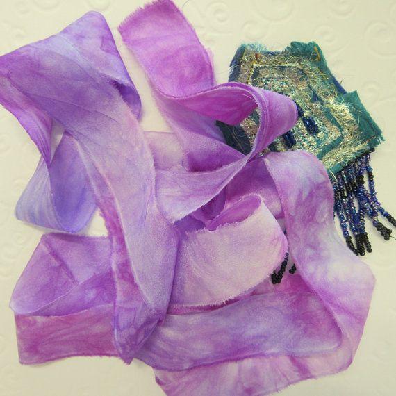 Nastro di seta viola - nastro del mestiere di bordo grezzo - Nuno Felting - frutti di bosco 2 tinti a mano