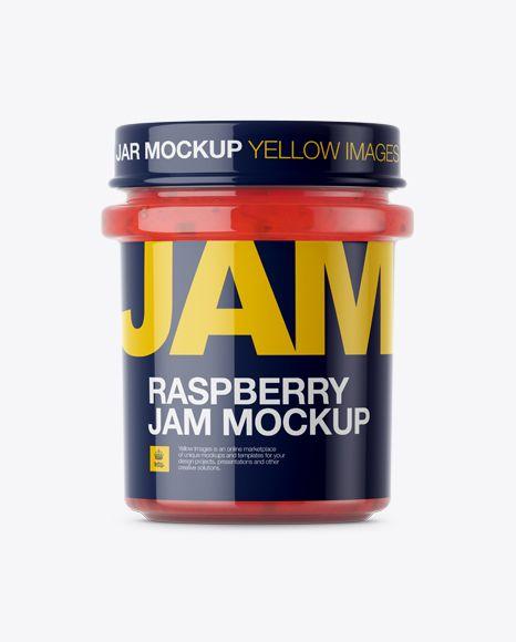 Glass Jar With Raspberry Jam Mockup - Eye-Level Shot (Preview)