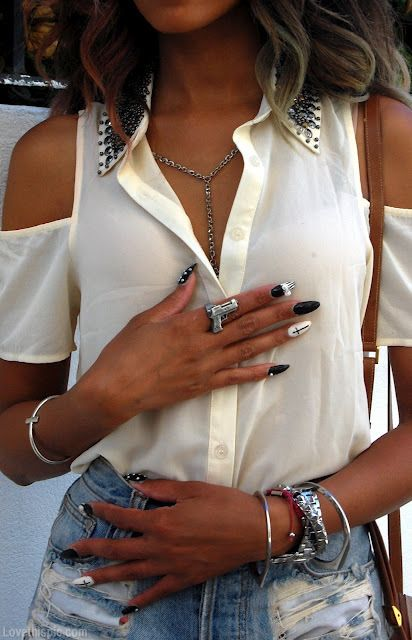 Gun fashion nails stud trend nail art fashion photography