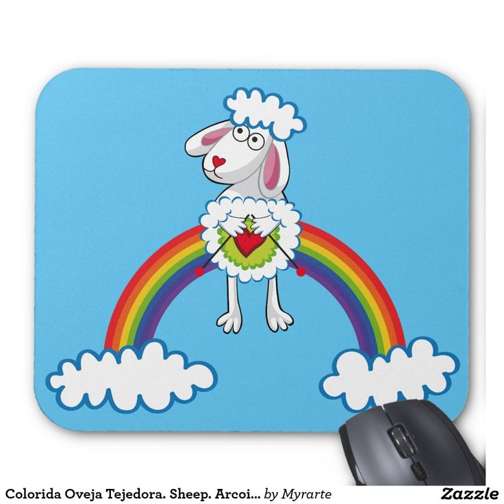 Colorida Oveja Tejedora. Sheep. Arcoiris, rainbow. Regalos, gifts. #Mousepads.