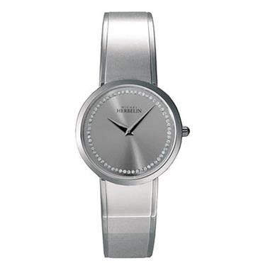 Ladies Michel Herbelin M-band watch with stoned silver dial. http://www.sterns.co.za