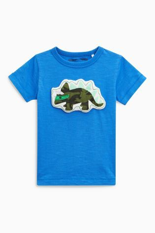 Blue Wadded Dino Short Sleeve T-Shirt (3mths-6yrs)