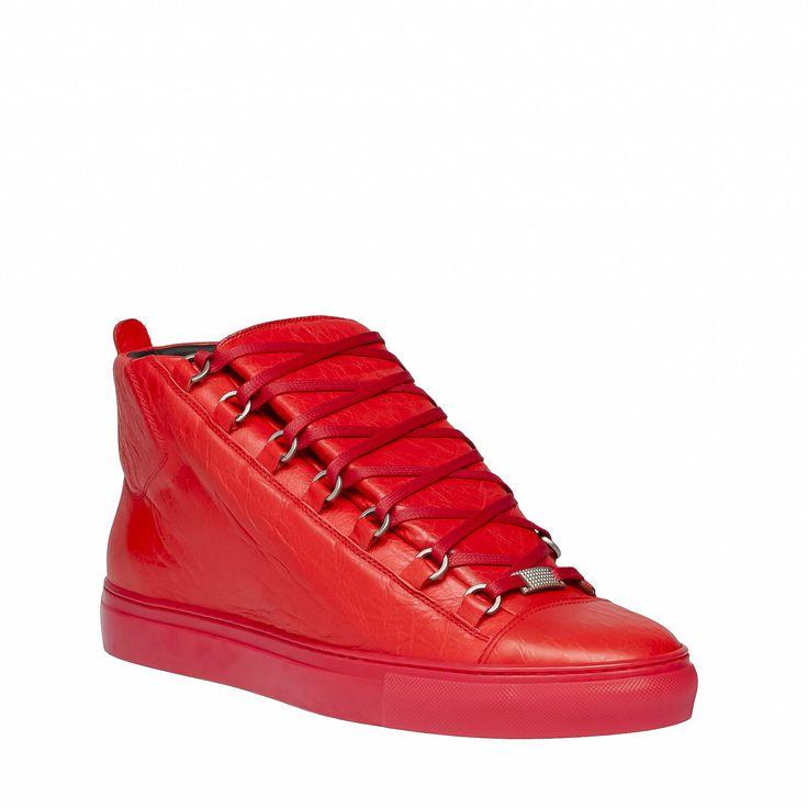 balenciaga   Balenciaga Arena High Sneakers in Red for Men (Rouge Braise)   Lyst
