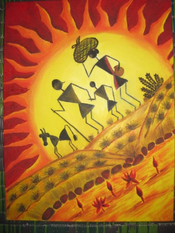 Plovist - Warli In Color by Vasu