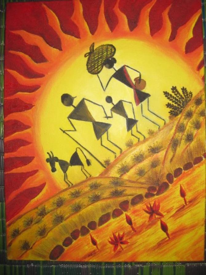 Plovist - Warli In Color by Vasu