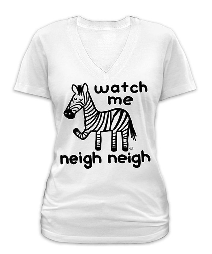 Look at this #zulilyfind! Goodie Two Sleeves White 'Watch Me Neigh Neigh' Zebra V-Neck Tee - Plus by Goodie Two Sleeves #zulilyfinds
