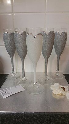Gorgeous Bride Bridesmaid Glitter and Rhinestone Champagne & wine glasses