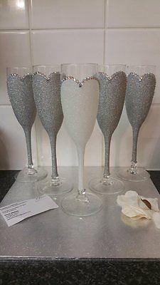 Gorgeous Bride Bridesmaid Glitter and Rhinestone Champagne & wine glasses