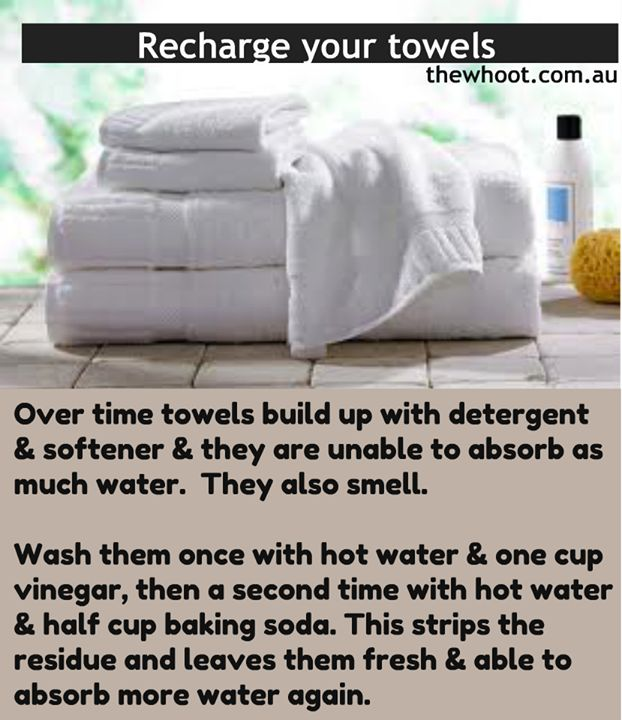 Clean Towels . . . works great . . . found another suggestion to add 2 tsps dawn dishwashing liquid to vinegar load. Doesn't seem necessary, but good to know. Be aware - dryer sheets build up residue on towels over time.