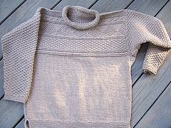 """Pattern description from No Sheep for You: """"Ganseys are the coolest things. Texture without fuss, and so comfy, who could refuse? Designer Jeannine Sims made one for him and one for her. The He Gansey is quite clever…cotton mixed with super-stretchy poly makes this sweater hold its shape sheeplessly. It's a woolless classic! For the women who like the look, a hint: this yarn comes in a ton of great colors. The She Gansey is slimmer fitting and incorporates waist shaping, a more ..."""