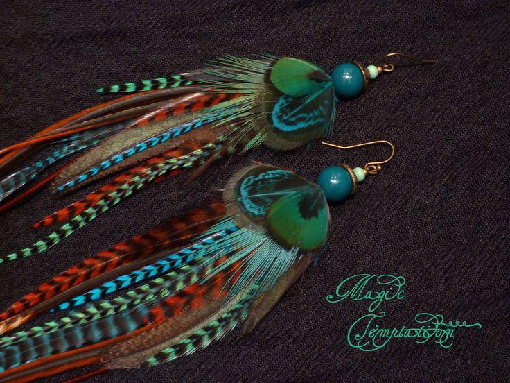 Купить Зелено-бирюзовые серьги из перьев - бирюзовый, бирюзовые серьги, серьги, серьги ручной работы