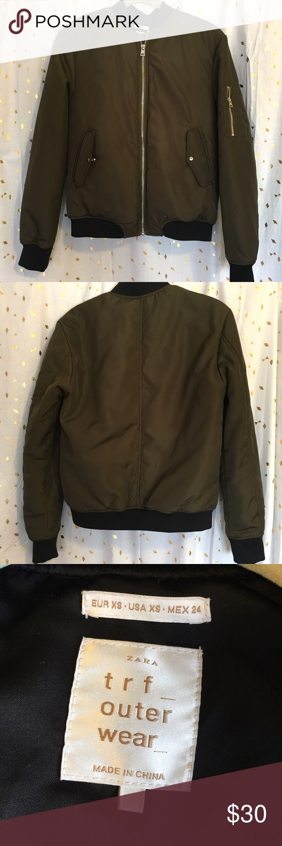 📦MOVING SALE📦 Zara bomber jacket Green Zara bomber jacket. A few minor spots but due to the nature of this fabric they're hard to see. Only worn a few times and in overall good condition. Cute jacket just a little big on me! Zara Jackets & Coats