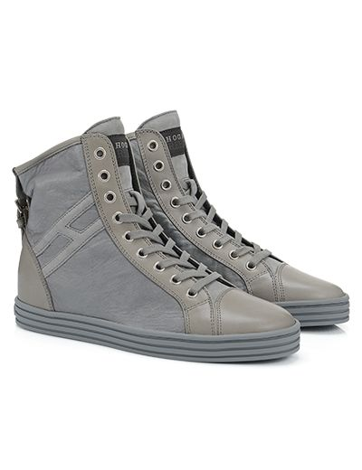 #HOGANREBEL R182 High-top #sneaker in #leather with rubber sole and invisible# wedge inside. Explore #urban inspiration on hoganrebel.com/women