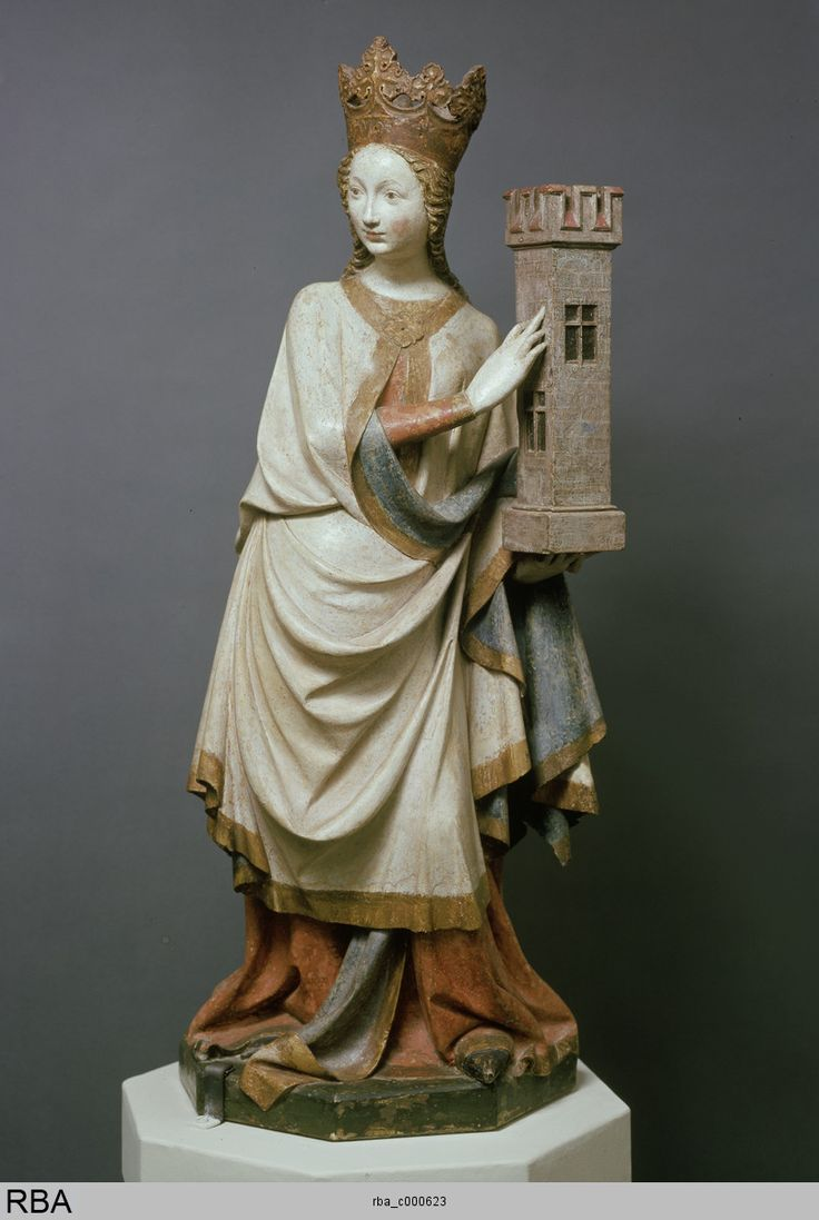 Saint Barbara/Heilige Barbara, c.1410/15; the saint is depicted with her primary symbolic attribute, a tower. (Kulturelles Erbe Köln: )