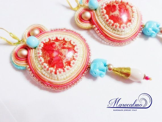 Coral earrings embroidered earrings Boho Big by Marecalmojewels