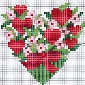 ♥ Heart and flowers chart