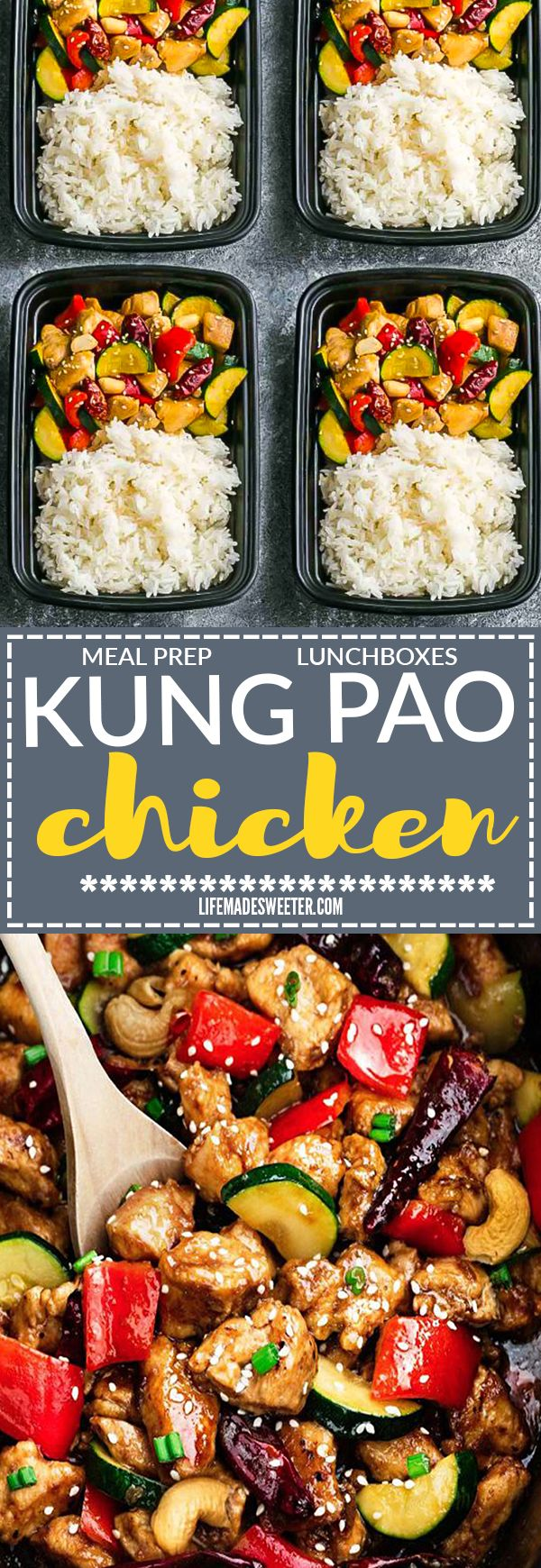 Kung Pao Chicken Stir Fry makes the perfect easy and lightened up healthy weeknight meal. Best of all,  less than 30 minutes to make in just ONE pan. This takeout favorite, is SO much healthier and better than your local Chinese restaurant with just a few minutes of prep time. With gluten free and paleo friendly options. Weekly meal prep or leftovers are great for lunch bowls or lunch boxes for work or school.