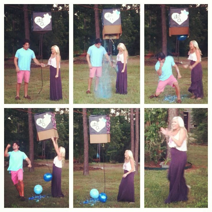 This is the way I did my gender reveal! Hung a box, tied a rope to bottom to pull open the box and my mom (who was the only one that knew) filled it with confetti, glitter, and balloons for either a boy or girl! It came out perfect