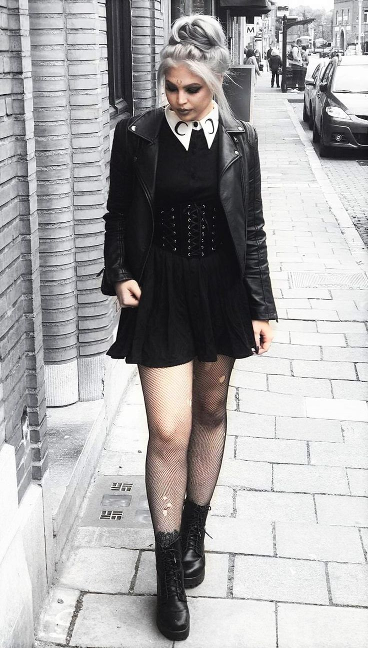 Vegan friendly black jacket with dress, belt, fishnet tights & boots by tavujesus - #fashion #nugoth #alternative #goth