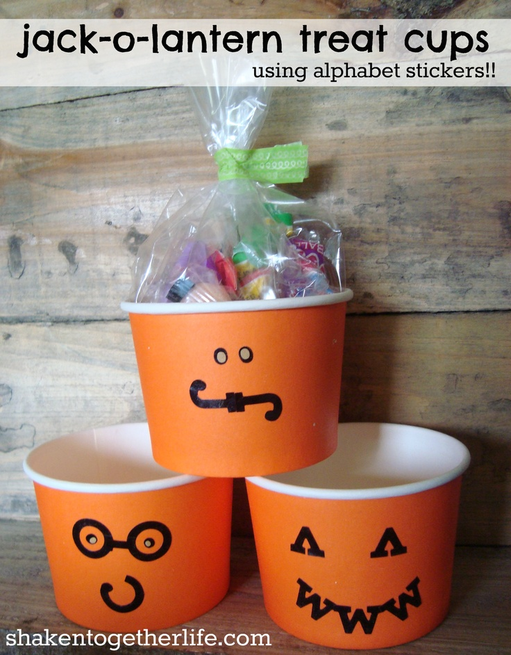 Jack-o-Lantern treat cups using Alphabet Stickers via Shaken Together!
