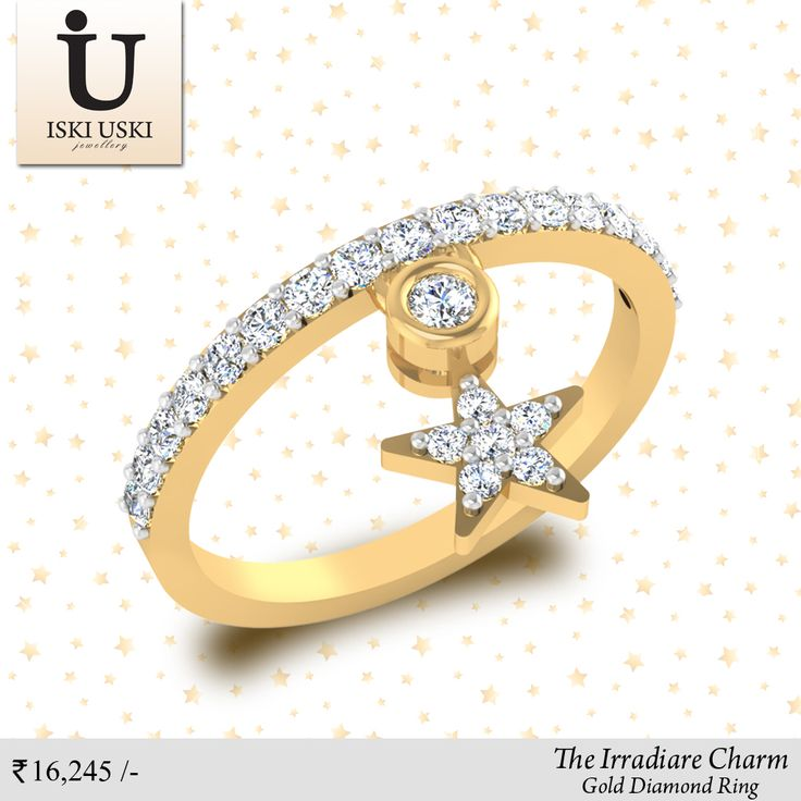 Need a little shine to that Friday night outfit? Our Irradiare Charm Ring is perfect so you can stack them the way you like it.#DiamondRings #GoldRings #Rings #IskiUski