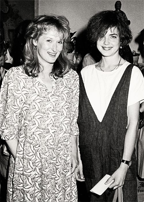 Young Meryl Streep with Elizabeth McGovern (Downton Abby) at PAND's Public Conversation on Nuclear Weapons, 1984