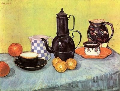 Still Life with Blue Enamel Coffeepot, Earthenware and Fruit 1888